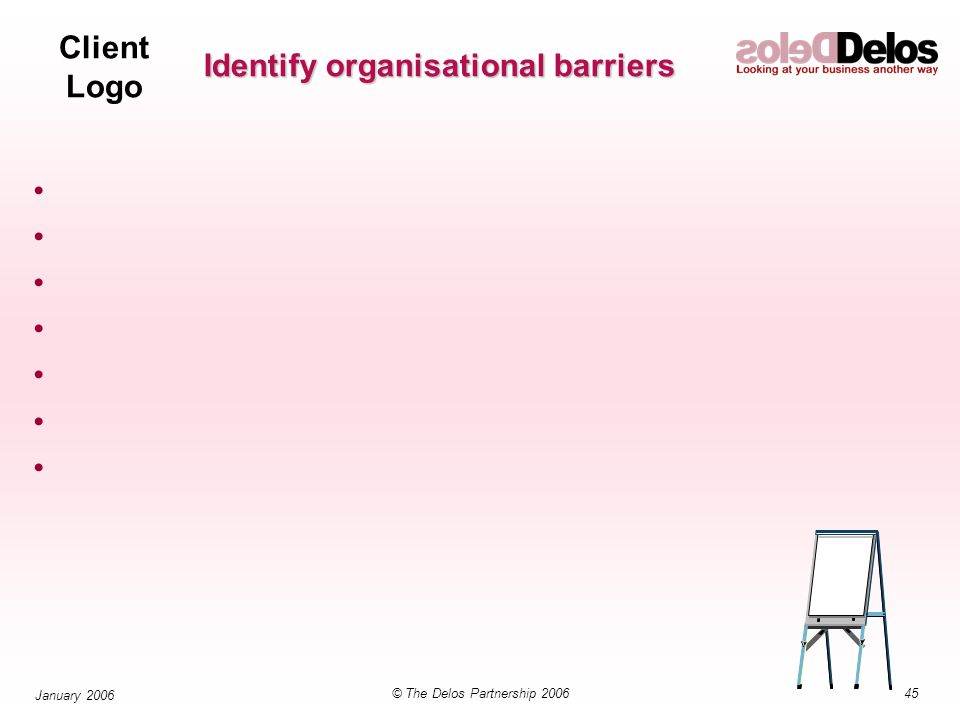Client Logo 45© The Delos Partnership 2006 January 2006 Identify organisational barriers