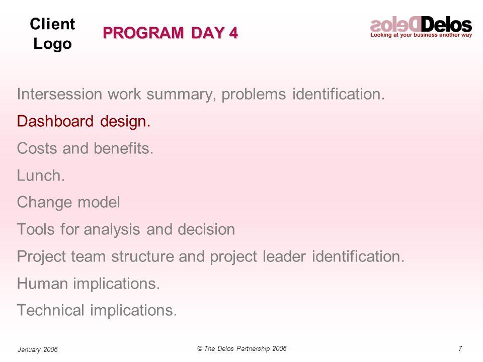 Client Logo 48© The Delos Partnership 2006 January 2006 PROGRAM DAY 4 Intersession work summary, problems identification.