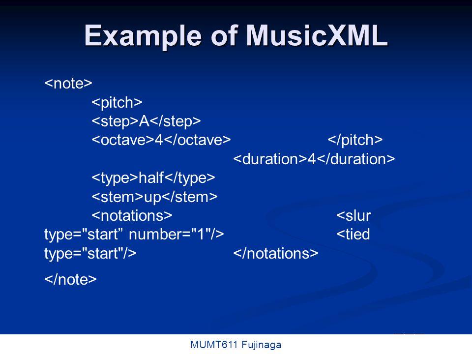 5 / 16 MUMT611 Fujinaga HTML / XML SMDL (Hytime, SGML) SMDL (Hytime, SGML) MHTML MHTML MusicML MusicML MusiXML MusiXML MusicXML MusicXML MusiqueXML MusiqueXML Xmusic Xmusic Etc.