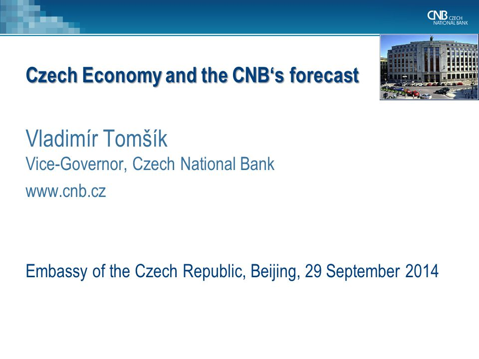 Czech Republic and its economy CNB, its legal mandate and monetary policy regime The current economic situation and CNB's forecast Conclusions 2 Outline of the presentation