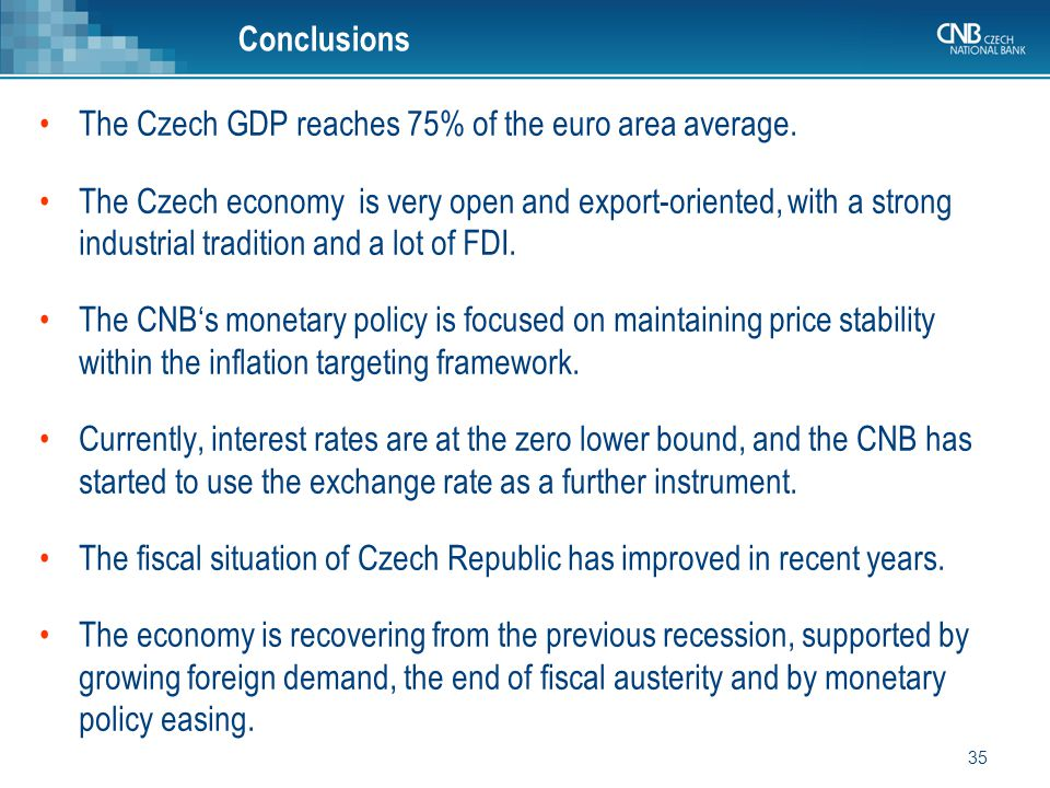 35 The Czech GDP reaches 75% of the euro area average.
