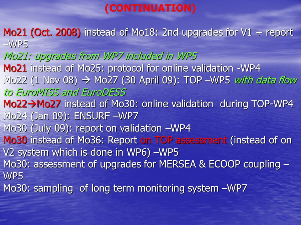 (CONTINUATION) Mo21 (Oct. 2008) instead of Mo18: 2nd upgrades for V1 + report –WP5 Mo21: upgrades from WP7 included in WP5 Mo21 instead of Mo25: proto