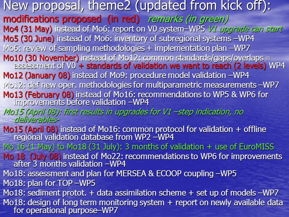 New proposal, theme2 (updated from kick off): modifications proposed (in red) remarks (in green) Mo4 (31 May) instead of Mo6: report on V0 system–WP5