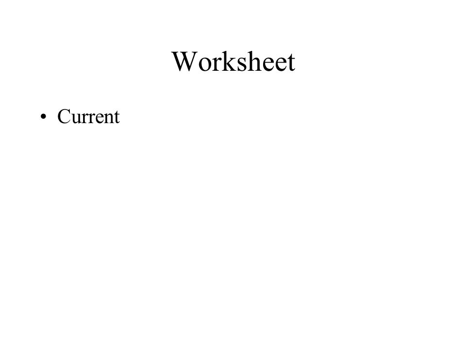 Worksheet Current