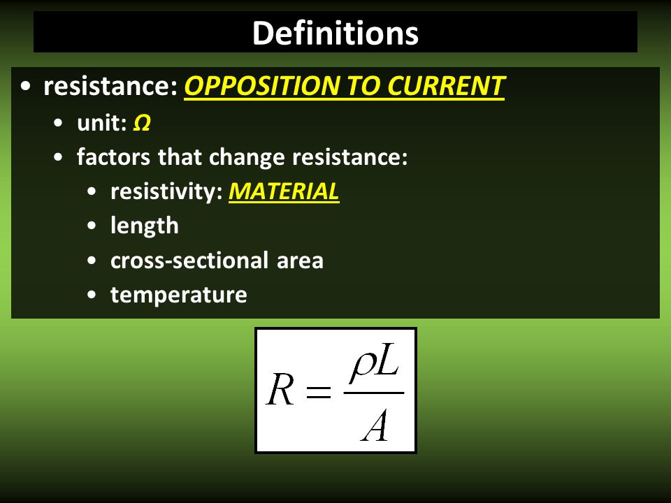 R A Resistance Factors R ρ R L R Temp. NEXT
