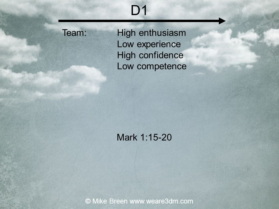 D1 High enthusiasm Low experience High confidence Low competence Mark 1:15-20 Team: © Mike Breen www.weare3dm.com