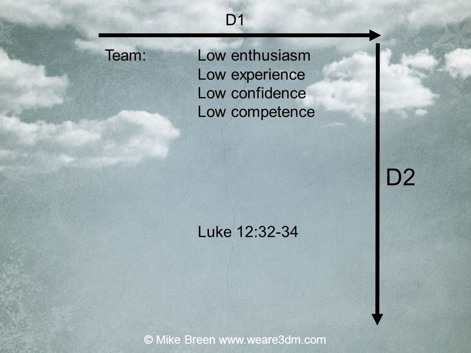 High enthusiasm Low experience High confidence Low competence High on direction Low on consensus High on example Low on explanation Mark 1:15-18 Directive / classical L1/D1 Team: Leader: Jesus: Leadership Style: © Mike Breen www.weare3dm.com
