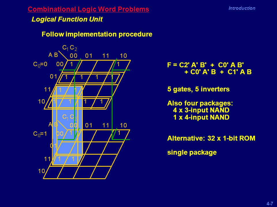 4-7 Introduction Combinational Logic Word Problems Logical Function Unit Follow implementation procedure F = C2' A' B' + C0' A B' + C0' A' B + C1' A B