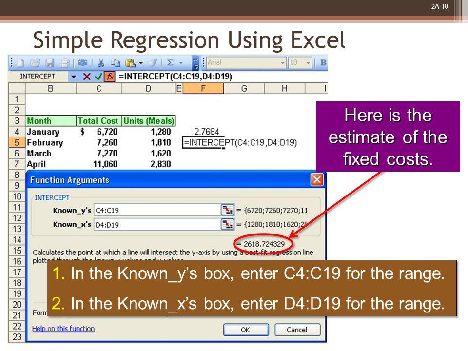 2A-10 1. In the Known_y's box, enter C4:C19 for the range.