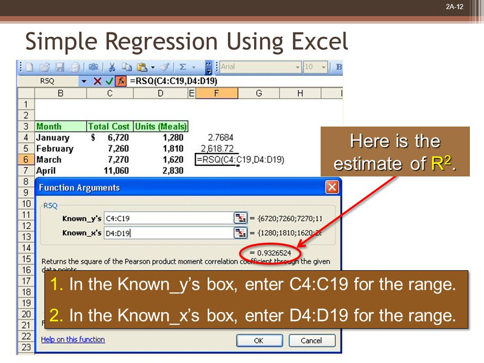 2A-12 1. In the Known_y's box, enter C4:C19 for the range.