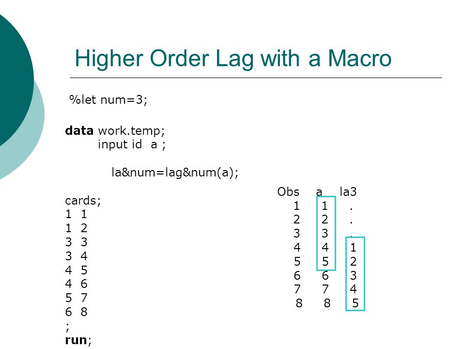 Higher Order Lag with a Macro %let num=3; data work.temp; input id a ; la&num=lag&num(a); cards; 1 1 2 3 3 4 4 5 4 6 5 7 6 8 ; run; Obs a la3 1 1.