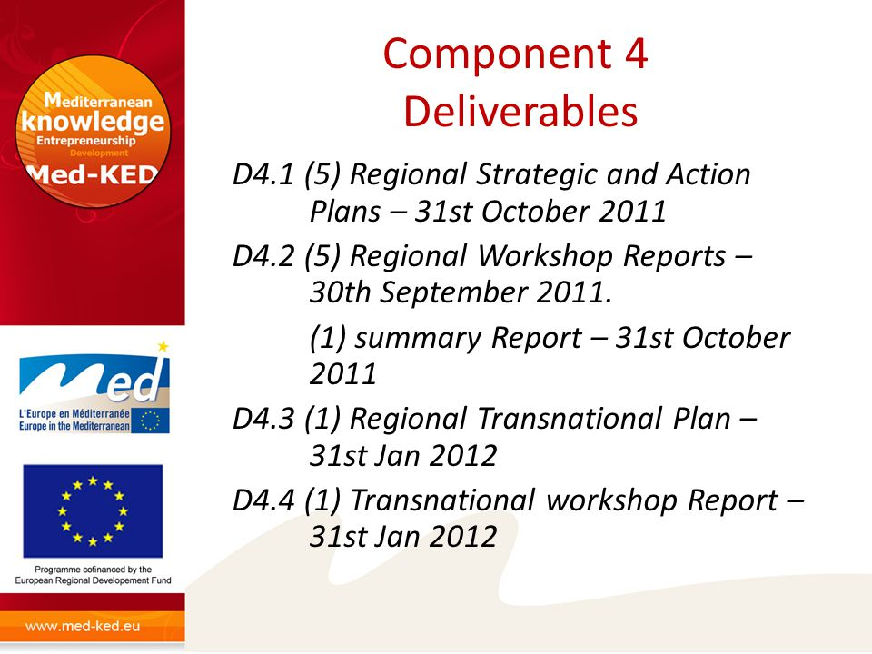 Component 4 Deliverables D4.1 (5) Regional Strategic and Action Plans – 31st October 2011 D4.2 (5) Regional Workshop Reports – 30th September 2011.