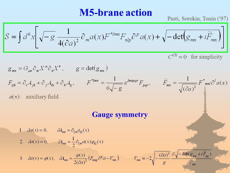 M5-brane action auxiliary field Gauge symmetry for simplicity Pasti, Sorokin, Tonin ( ' 97)