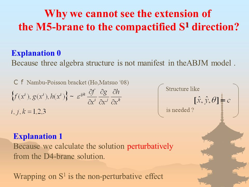 Why we cannot see the extension of 1 the M5-brane to the compactified S 1 direction.