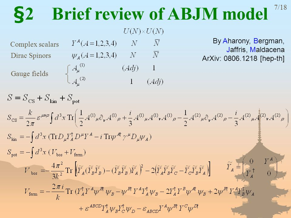 By Aharony, Bergman, Jaffris, Maldacena ArXiv: 0806.1218 [hep-th] §2 Brief review of ABJM model 7/18 Complex scalars Dirac Spinors Gauge fields