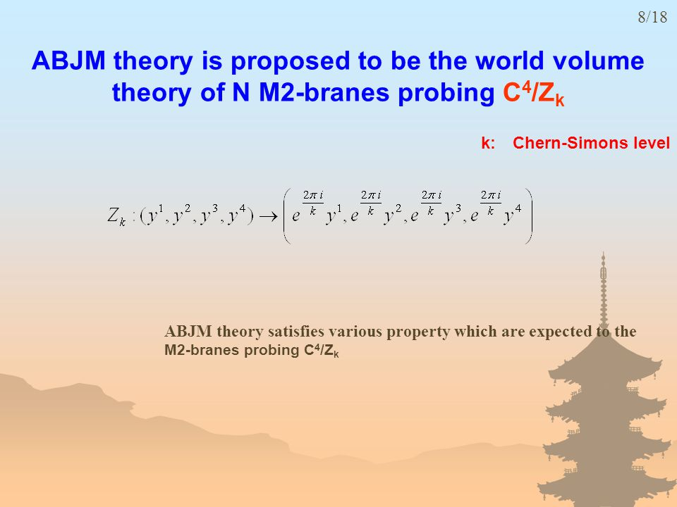 ABJM theory is proposed to be the world volume theory of N M2-branes probing C 4 /Z k k: Chern-Simons level 8/18 ABJM theory satisfies various property which are expected to the M2-branes probing C 4 /Z k
