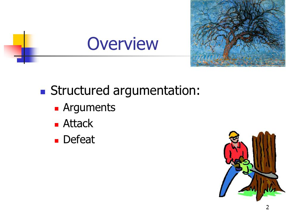 2 Overview Structured argumentation: Arguments Attack Defeat