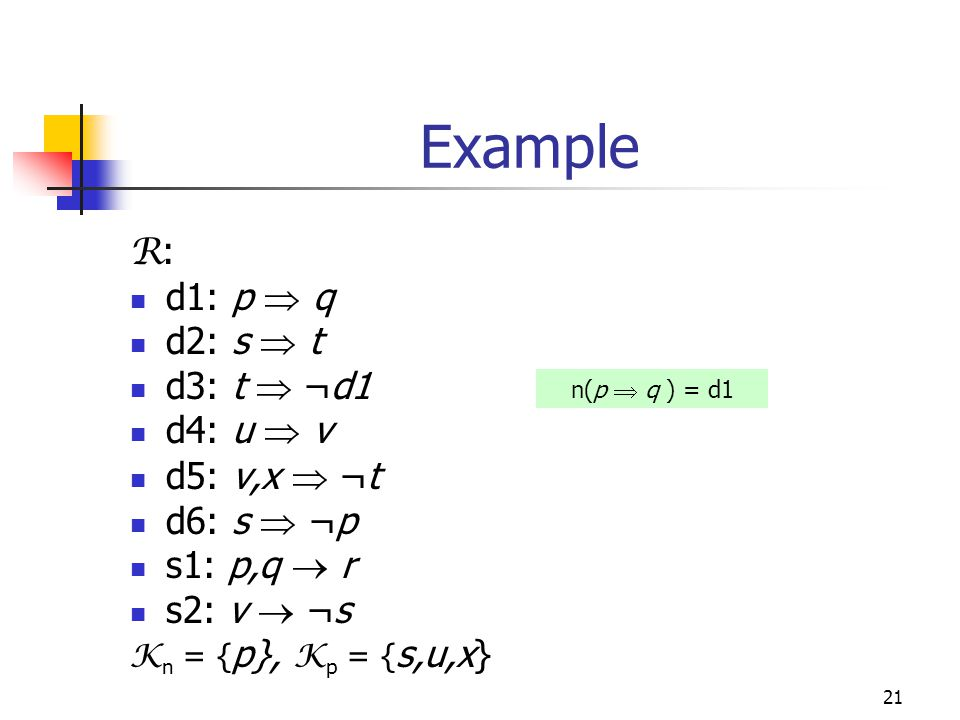 21 Example R : d1: p  q d2: s  t d3: t  ¬d1 d4: u  v d5: v,x  ¬t d6: s  ¬p s1: p,q  r s2: v  ¬s K n = { p}, K p = { s,u,x} n(p  q ) = d1