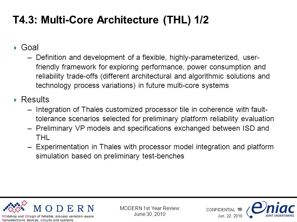 CONFIDENTIAL 19 MODERN 1st Year Review June 30, 2010 T4.3: Multi-Core Architecture (THL) 1/2 Goal –Definition and development of a flexible, highly-pa