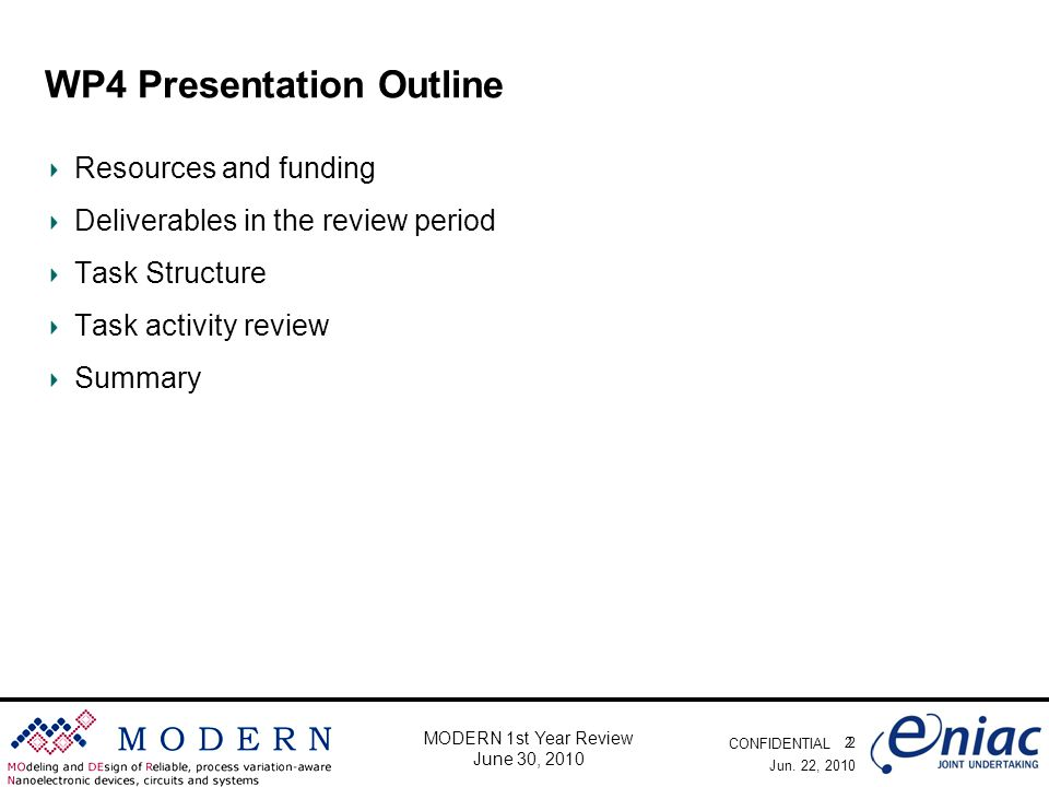 CONFIDENTIAL 2 MODERN 1st Year Review June 30, 2010 WP4 Presentation Outline Resources and funding Deliverables in the review period Task Structure Task activity review Summary Jun.