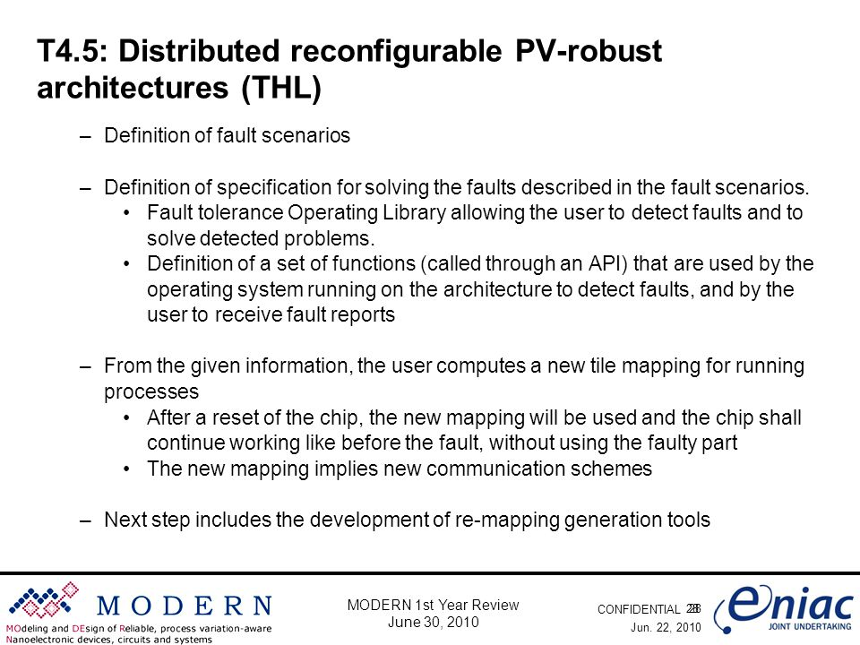 CONFIDENTIAL 28 MODERN 1st Year Review June 30, 2010 T4.5: Distributed reconfigurable PV-robust architectures (THL) –Definition of fault scenarios –De