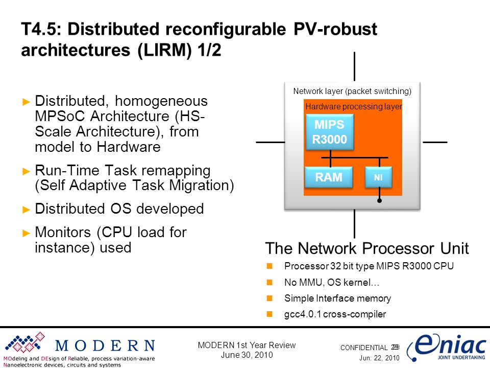 CONFIDENTIAL 29 MODERN 1st Year Review June 30, 2010 T4.5: Distributed reconfigurable PV-robust architectures (LIRM) 1/2 ► Distributed, homogeneous MPSoC Architecture (HS- Scale Architecture), from model to Hardware ► Run-Time Task remapping (Self Adaptive Task Migration) ► Distributed OS developed ► Monitors (CPU load for instance) used Jun.