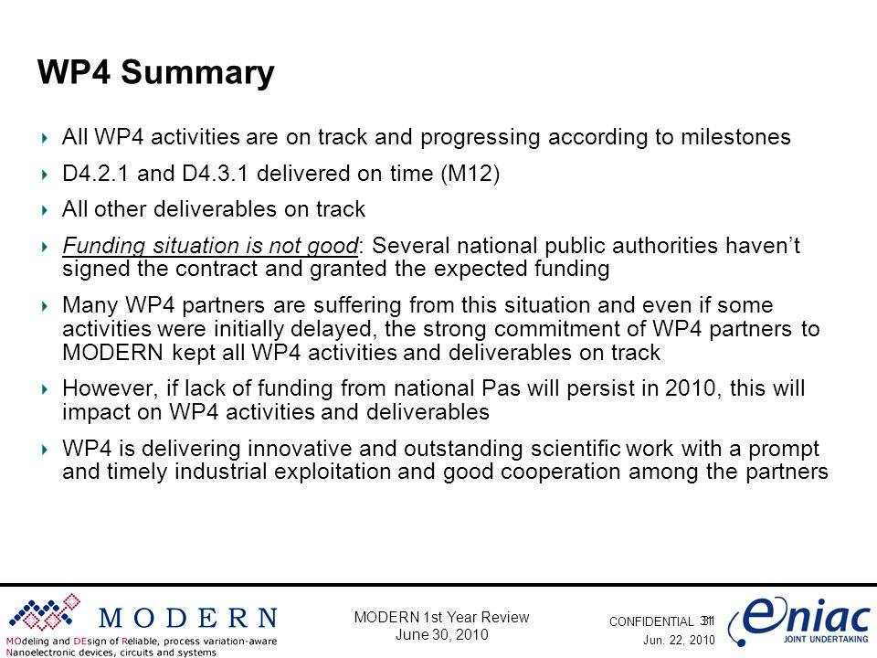 CONFIDENTIAL 31 MODERN 1st Year Review June 30, 2010 WP4 Summary All WP4 activities are on track and progressing according to milestones D4.2.1 and D4.3.1 delivered on time (M12) All other deliverables on track Funding situation is not good: Several national public authorities haven't signed the contract and granted the expected funding Many WP4 partners are suffering from this situation and even if some activities were initially delayed, the strong commitment of WP4 partners to MODERN kept all WP4 activities and deliverables on track However, if lack of funding from national Pas will persist in 2010, this will impact on WP4 activities and deliverables WP4 is delivering innovative and outstanding scientific work with a prompt and timely industrial exploitation and good cooperation among the partners Jun.