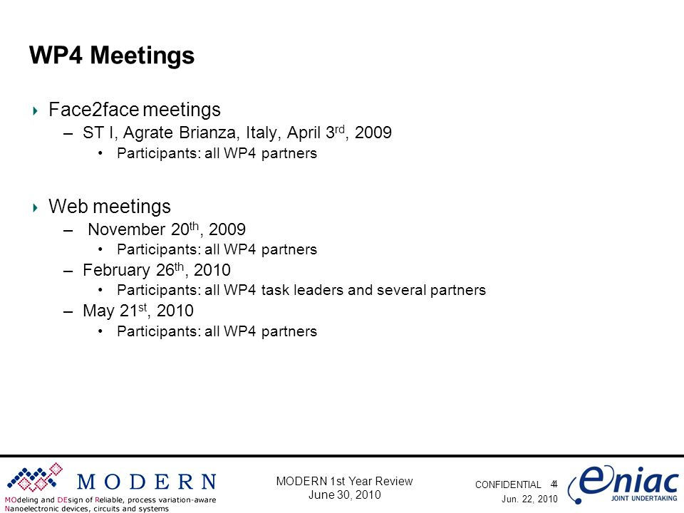 CONFIDENTIAL 4 MODERN 1st Year Review June 30, 2010 WP4 Meetings Face2face meetings –ST I, Agrate Brianza, Italy, April 3 rd, 2009 Participants: all WP4 partners Web meetings – November 20 th, 2009 Participants: all WP4 partners –February 26 th, 2010 Participants: all WP4 task leaders and several partners –May 21 st, 2010 Participants: all WP4 partners Jun.