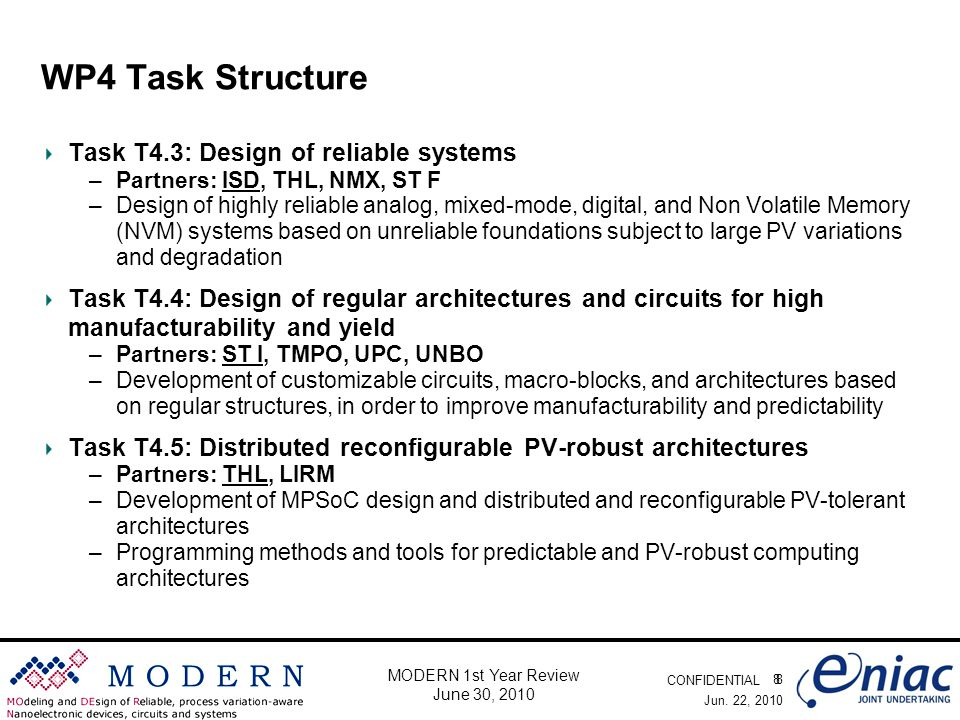 CONFIDENTIAL 8 MODERN 1st Year Review June 30, 2010 WP4 Task Structure Task T4.3: Design of reliable systems –Partners: ISD, THL, NMX, ST F –Design of