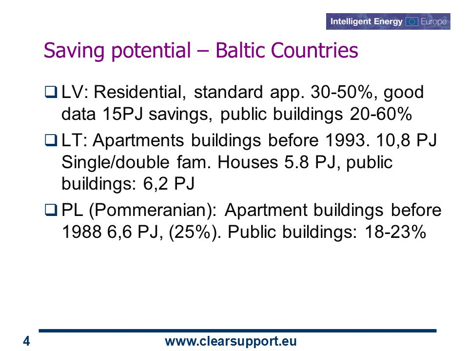 www.clearsupport.eu 4 Saving potential – Baltic Countries  LV: Residential, standard app.