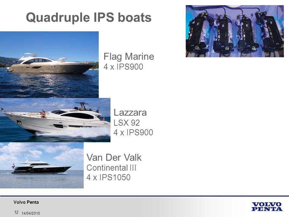 Volvo Penta 12 14/04/2015 Quadruple IPS boats Flag Marine 4 x IPS900 Lazzara LSX 92 4 x IPS900 Van Der Valk Continental III 4 x IPS1050
