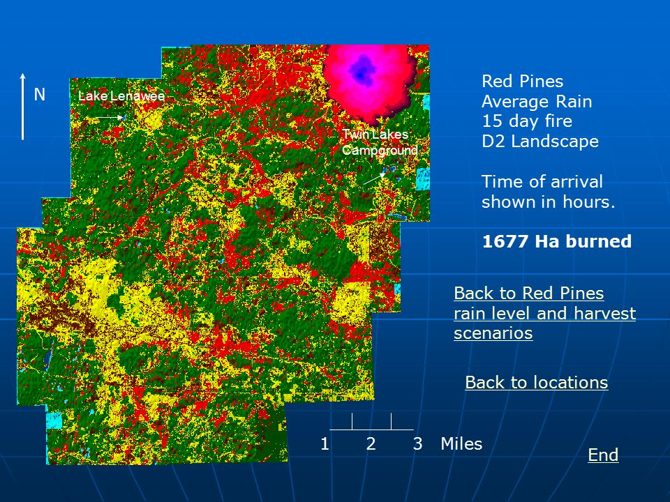 Red Pines Average Rain 15 day fire D2 Landscape Time of arrival shown in hours.