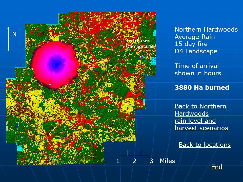 Northern Hardwoods Average Rain 15 day fire D4 Landscape Time of arrival shown in hours.
