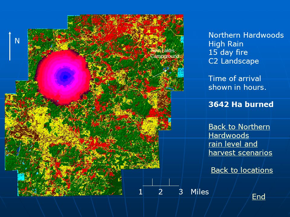 Northern Hardwoods High Rain 15 day fire C2 Landscape Time of arrival shown in hours.