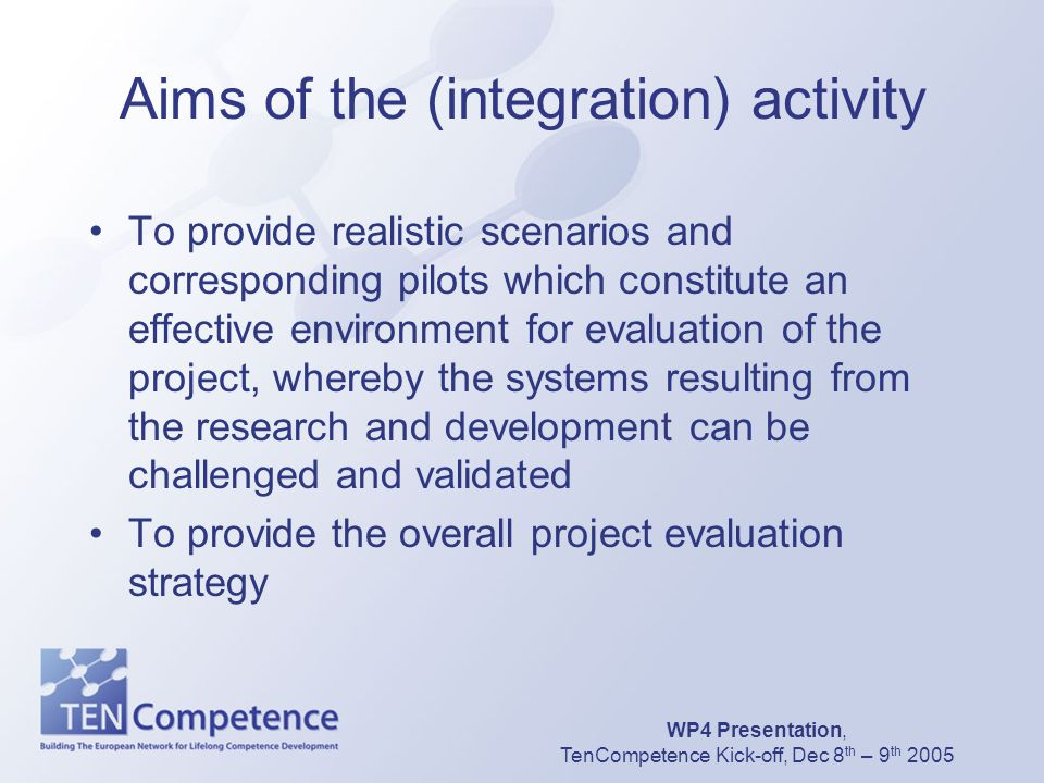 WP4 Presentation, TenCompetence Kick-off, Dec 8 th – 9 th 2005 Aims of the (integration) activity To provide realistic scenarios and corresponding pil