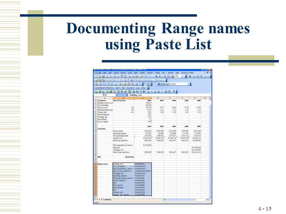 4 - 15 Documenting Range names using Paste List
