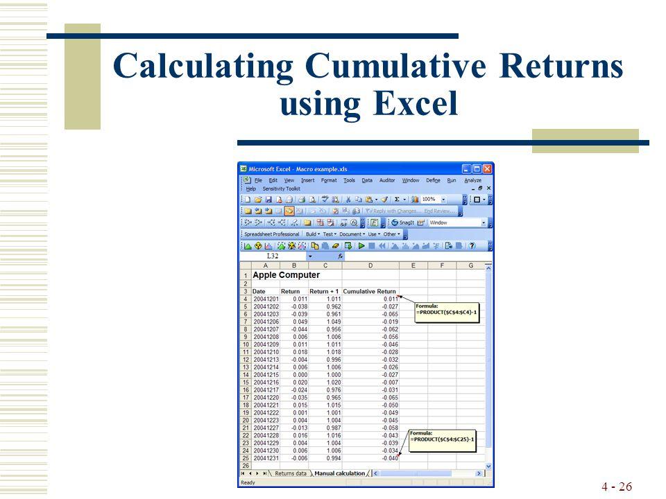 4 - 26 Calculating Cumulative Returns using Excel