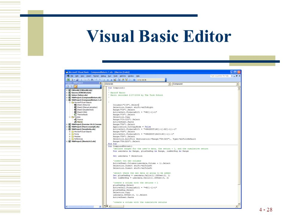 4 - 28 Visual Basic Editor