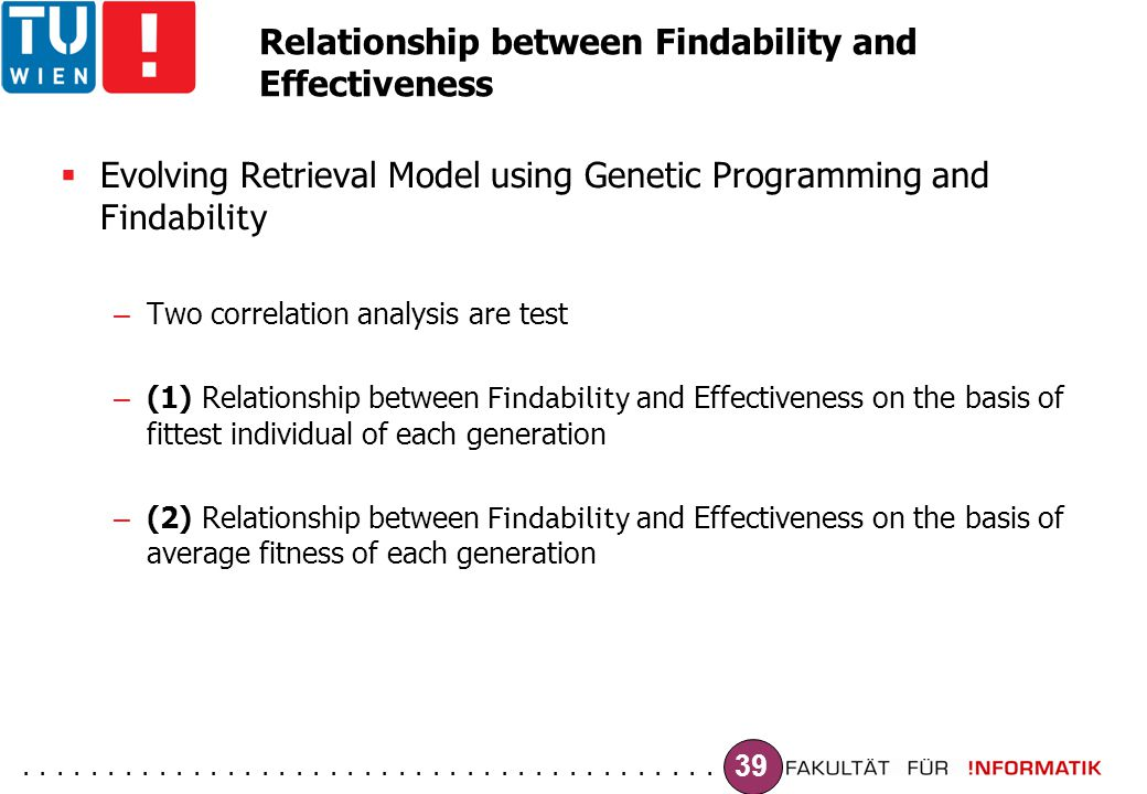 ......................................... 39 Relationship between Findability and Effectiveness  Evolving Retrieval Model using Genetic Programming a