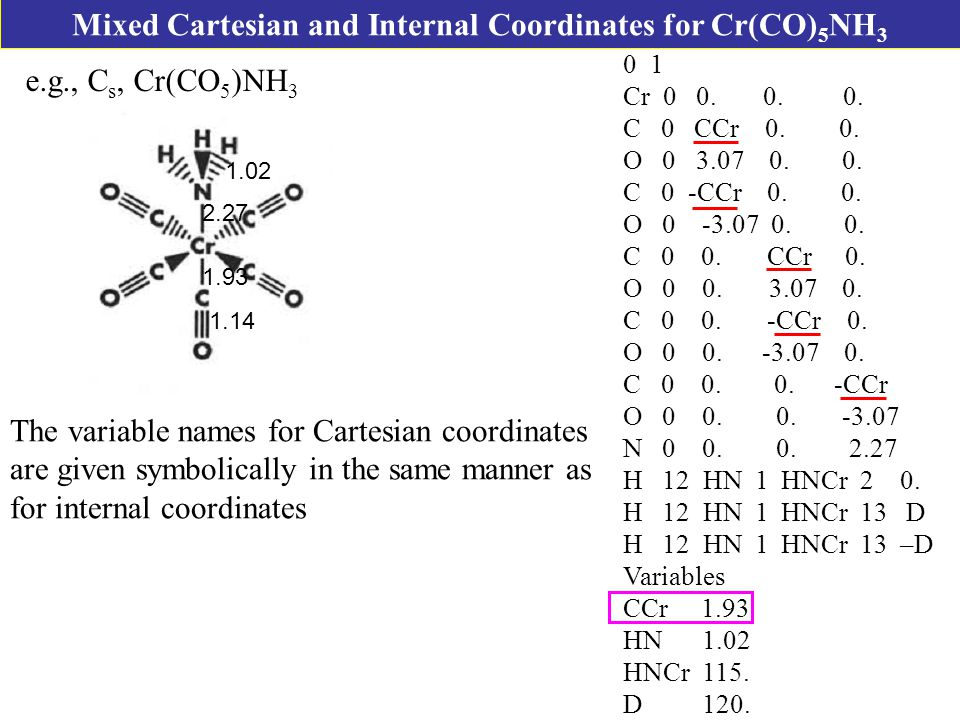 Mixed Cartesian and Internal Coordinates for Cr(CO) 5 NH 3 e.g., C s, Cr(CO 5 )NH Cr 0 0.
