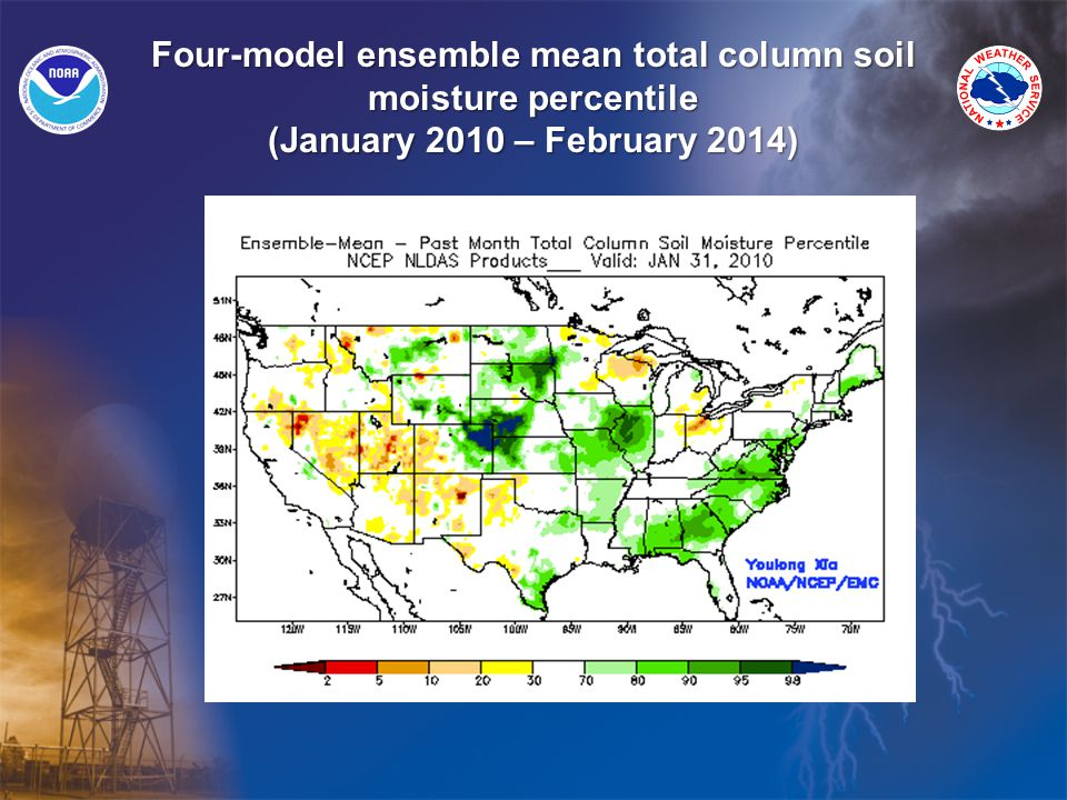 Four-model ensemble mean total column soil moisture percentile (January 2010 – February 2014)