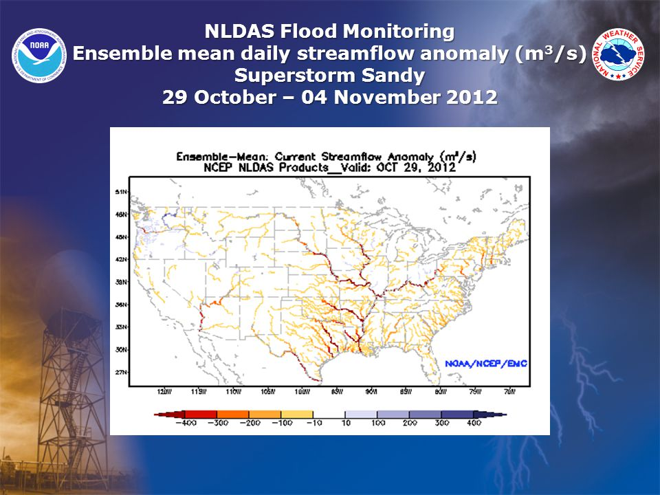 NLDAS Flood Monitoring Ensemble mean daily streamflow anomaly (m 3 /s) Superstorm Sandy 29 October – 04 November 2012