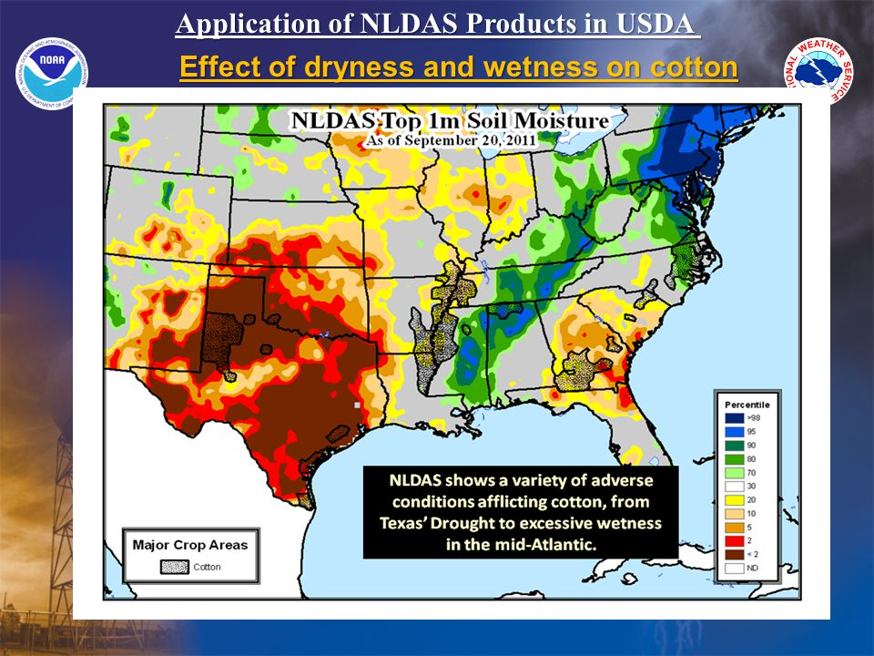 Application of NLDAS Products in USDA Effect of dryness and wetness on cotton