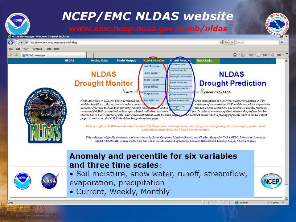 www.emc.ncep.noaa.gov/mmb/nldas NLDAS Drought Monitor NLDAS Drought Prediction Anomaly and percentile for six variables and three time scales: Soil moisture, snow water, runoff, streamflow, evaporation, precipitation Current, Weekly, Monthly NCEP/EMC NLDAS website