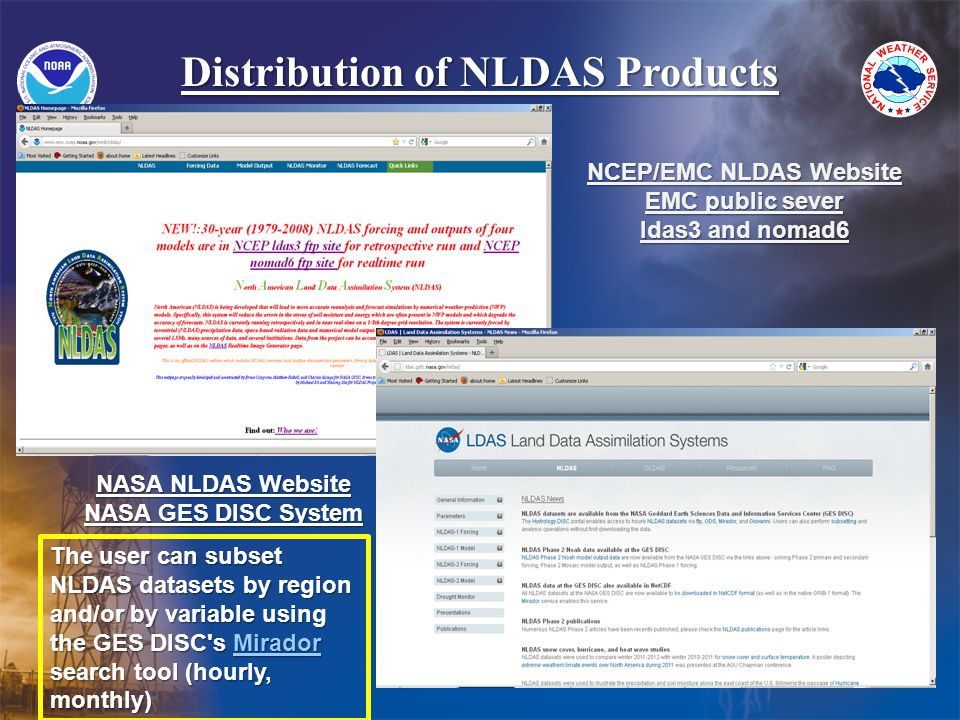 Distribution of NLDAS Products NCEP/EMC NLDAS Website EMC public sever ldas3 and nomad6 NASA NLDAS Website NASA GES DISC System The user can subset NLDAS datasets by region and/or by variable using the GES DISC s Mirador search tool (hourly, monthly) Mirador