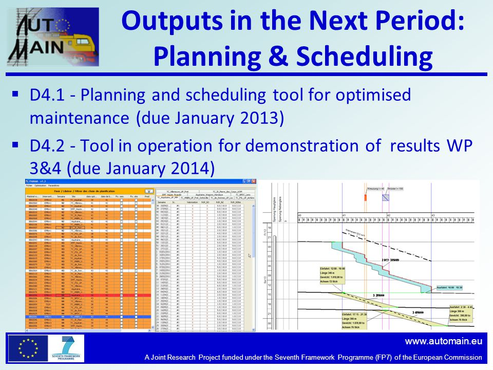 www.automain.eu A Joint Research Project funded under the Seventh Framework Programme (FP7) of the European Commission Outputs in the Next Period: Planning & Scheduling  D4.1 - Planning and scheduling tool for optimised maintenance (due January 2013)  D4.2 - Tool in operation for demonstration of results WP 3&4 (due January 2014)