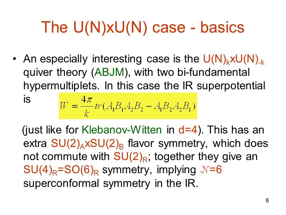 6 The U(N)xU(N) case - basics An especially interesting case is the U(N) k xU(N) -k quiver theory (ABJM), with two bi-fundamental hypermultiplets.