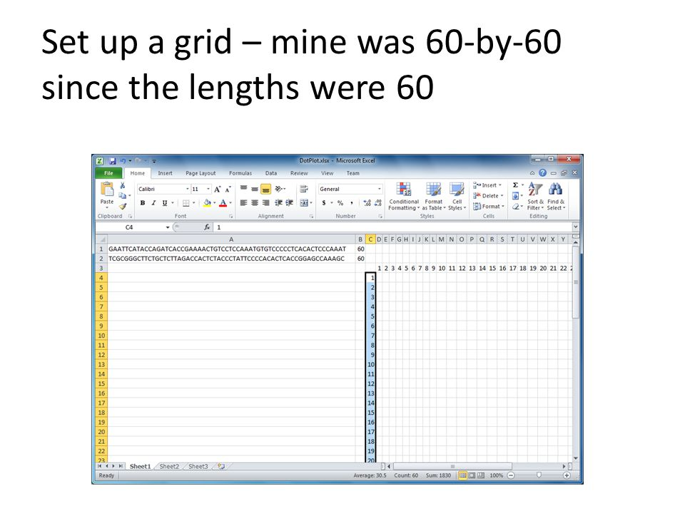 Set up a grid – mine was 60-by-60 since the lengths were 60