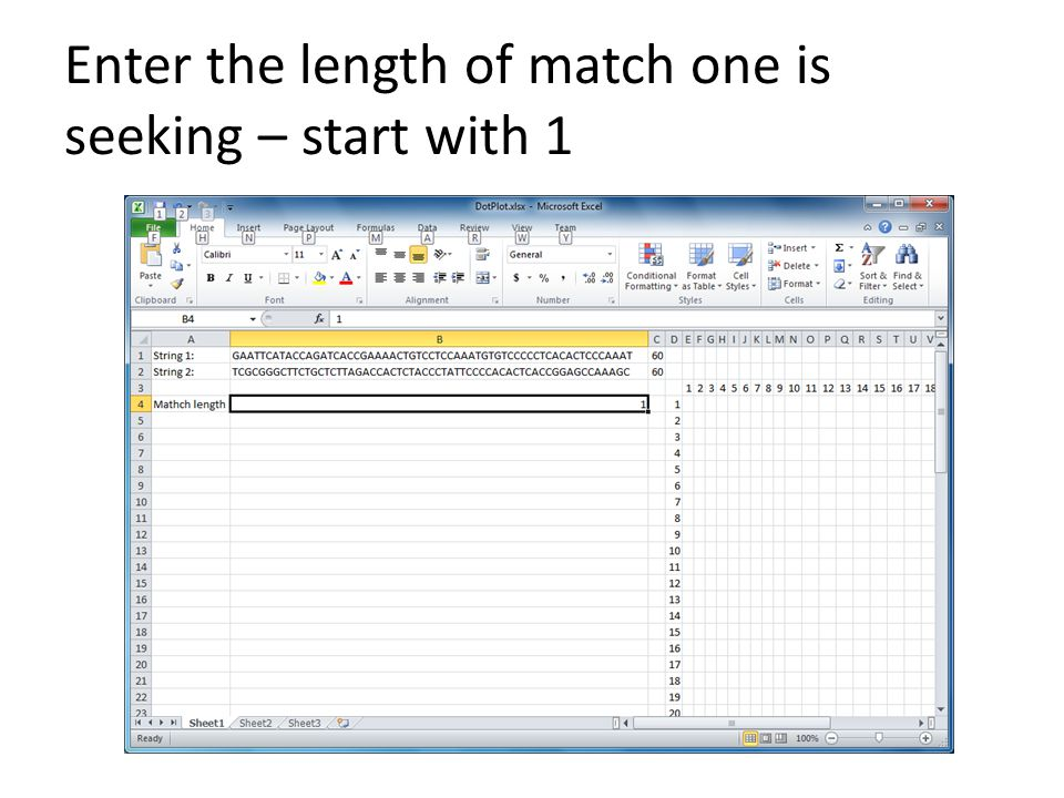 Enter the length of match one is seeking – start with 1