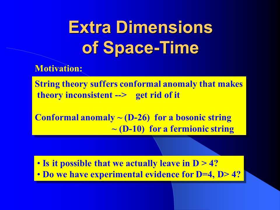 Extra Dimensions of Space-Time String theory suffers conformal anomaly that makes theory inconsistent --> get rid of it Conformal anomaly ~ (D-26) for
